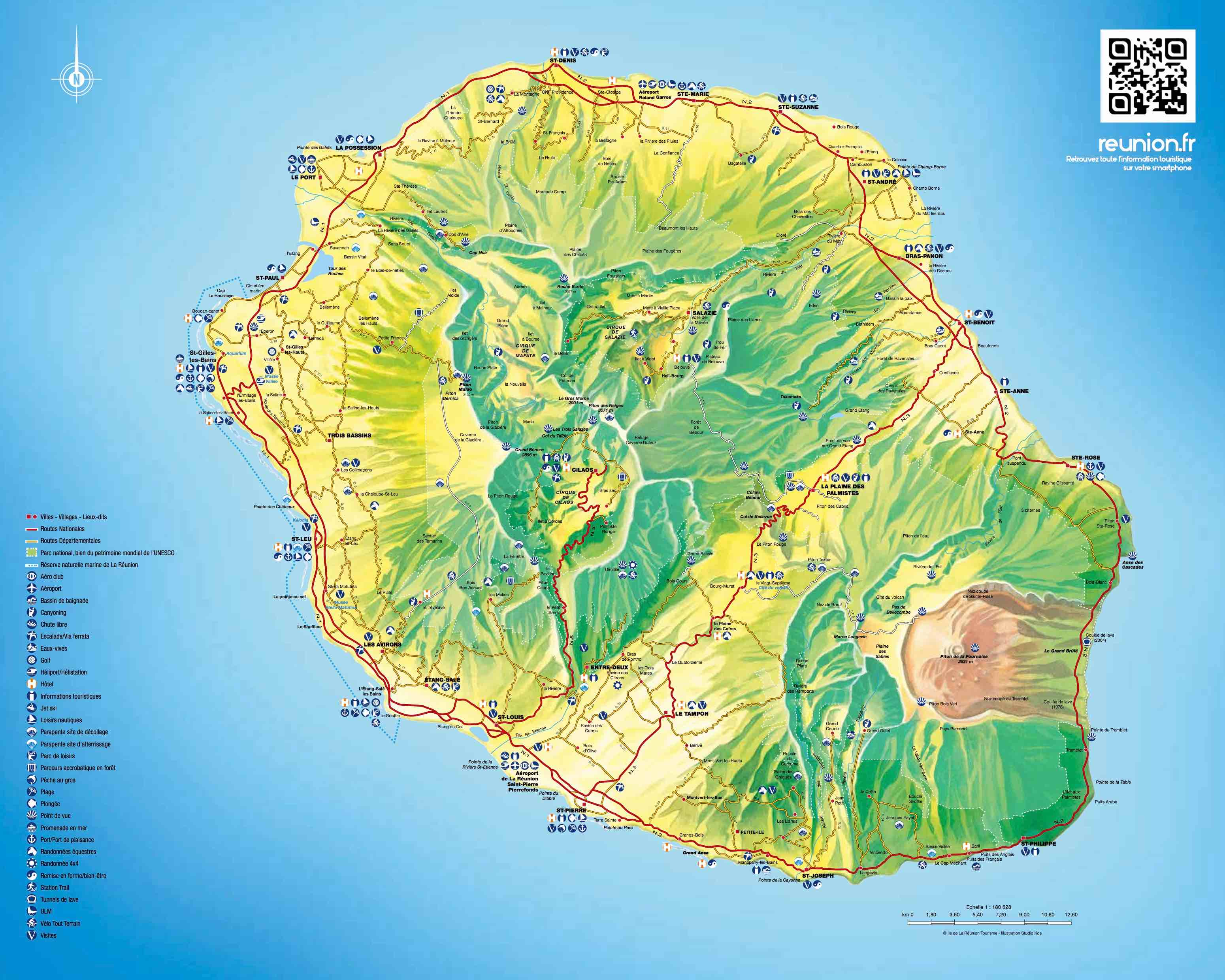 LA reunion : Carte, plan, villes de la rgion La Runion Guide Runion: Carte routire Ile de la Runion Situation et gographie de l le de la Reunion - Guide Runion