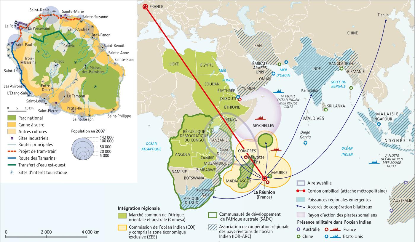 Carte Réunion Océan Indien