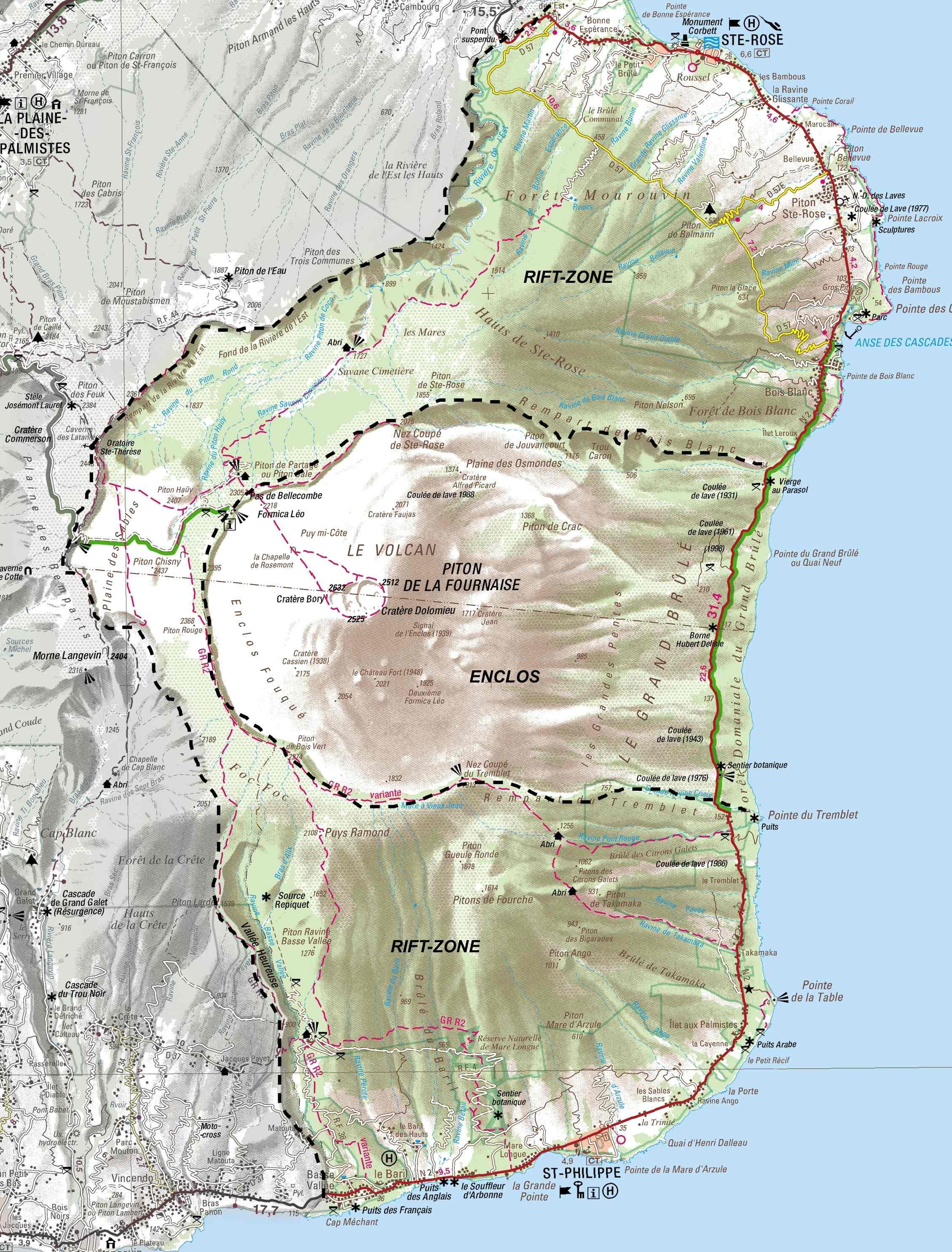 Carte Volcan Piton de la Fournaise