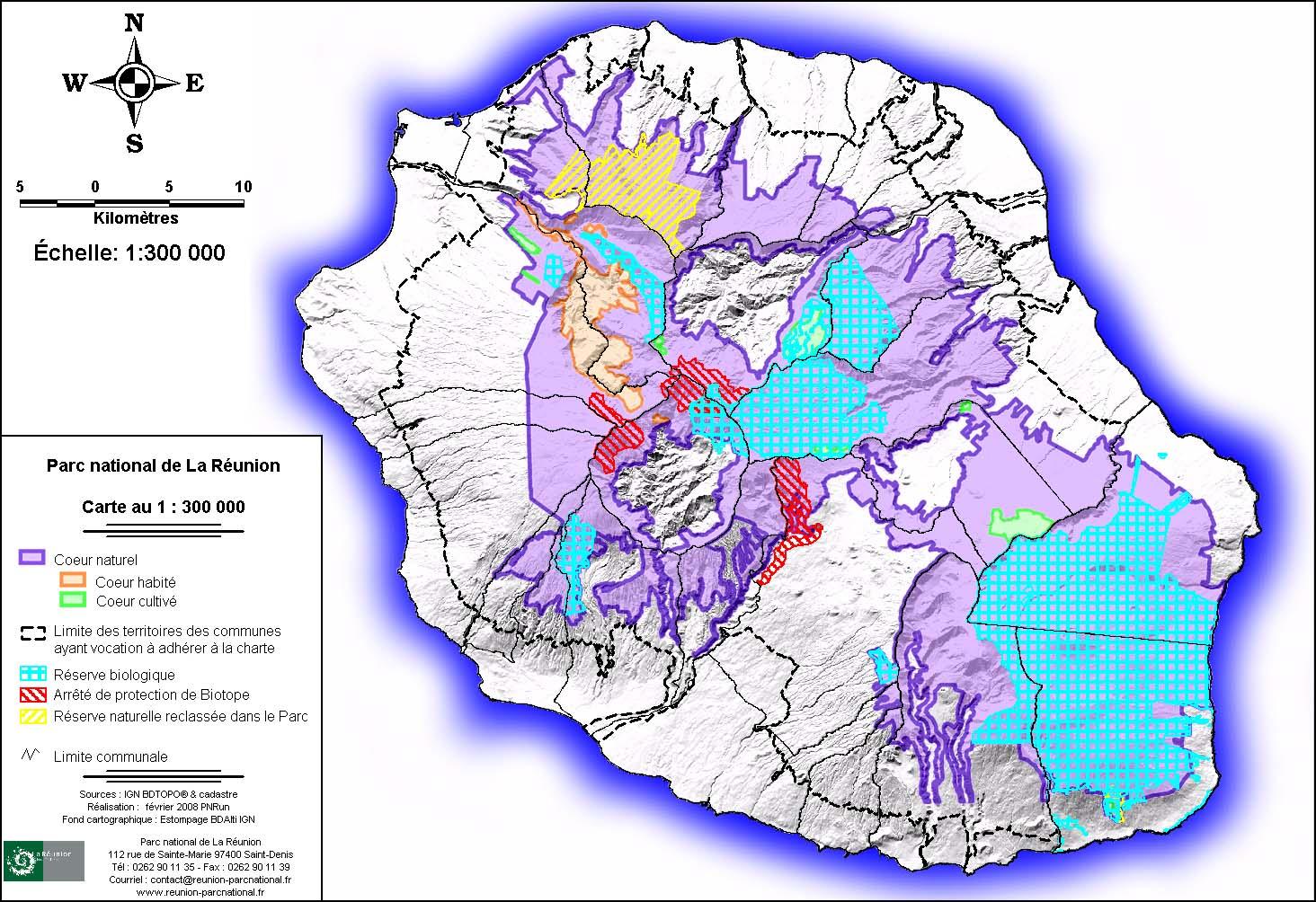 Carte des enjeux du Parc National de La Réunion