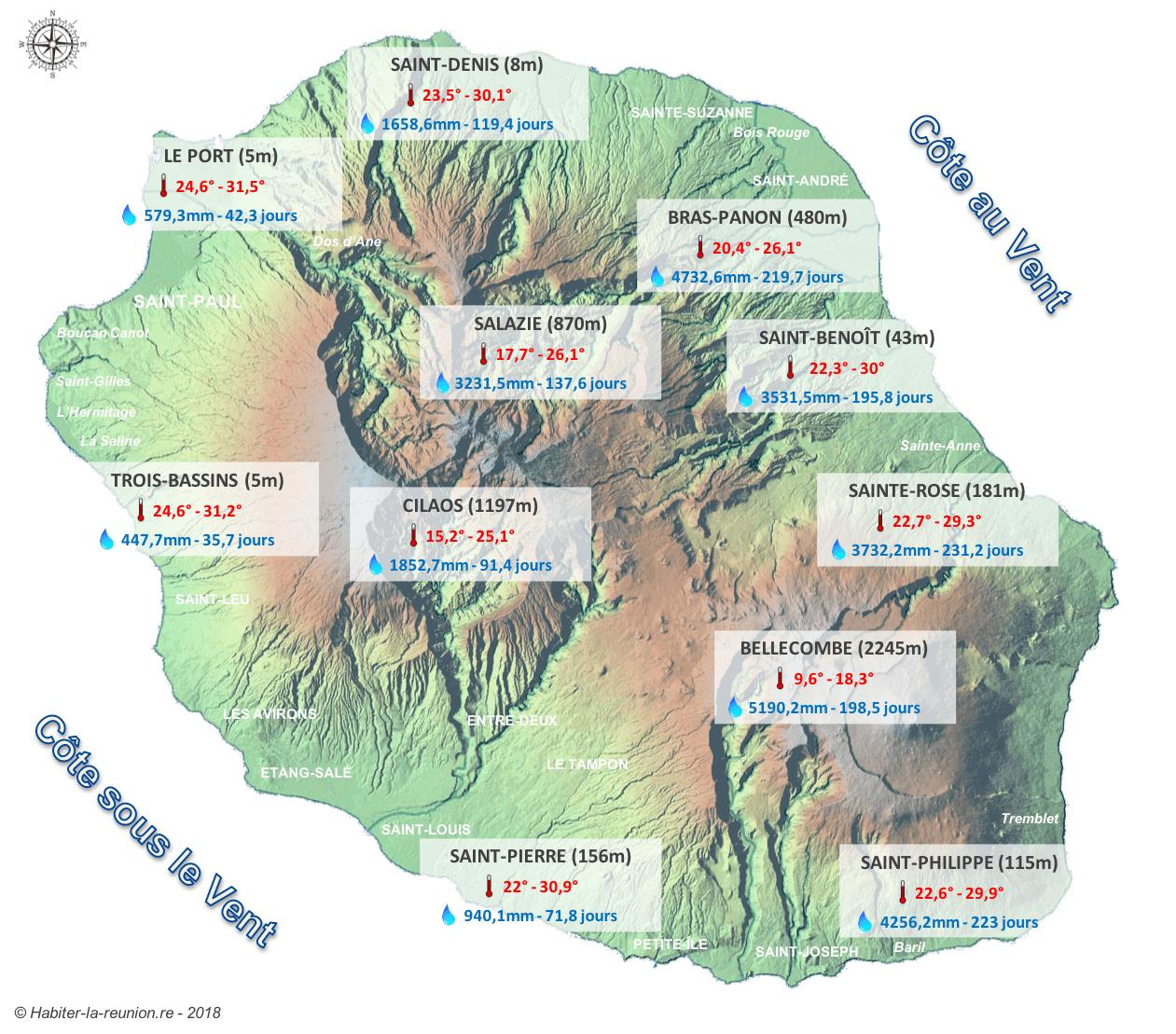 Carte-normales-saisonnières-températures-pluviométrie-La-Réunion