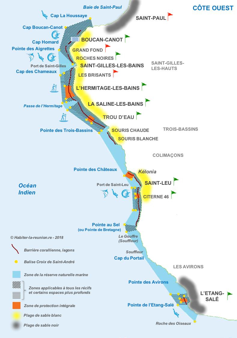 Carte-plages-côte-ouest-Réunion