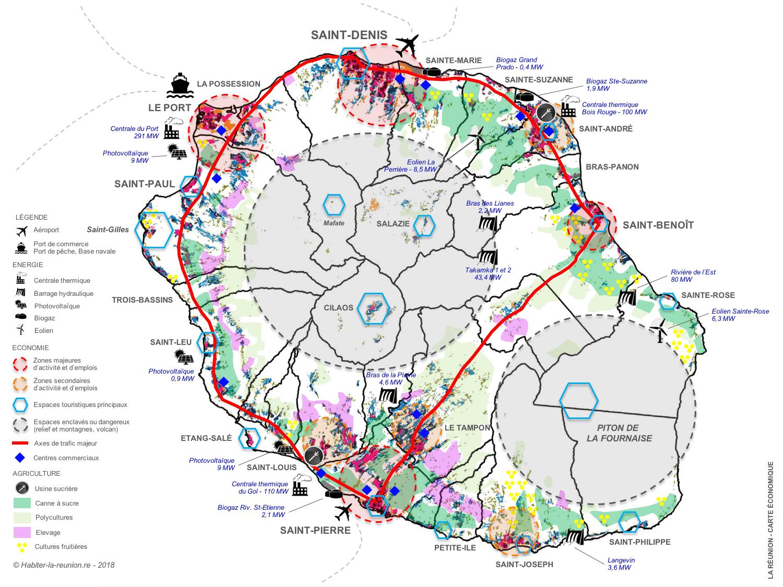 Carte-économie-agriculture-énergie-Réunion