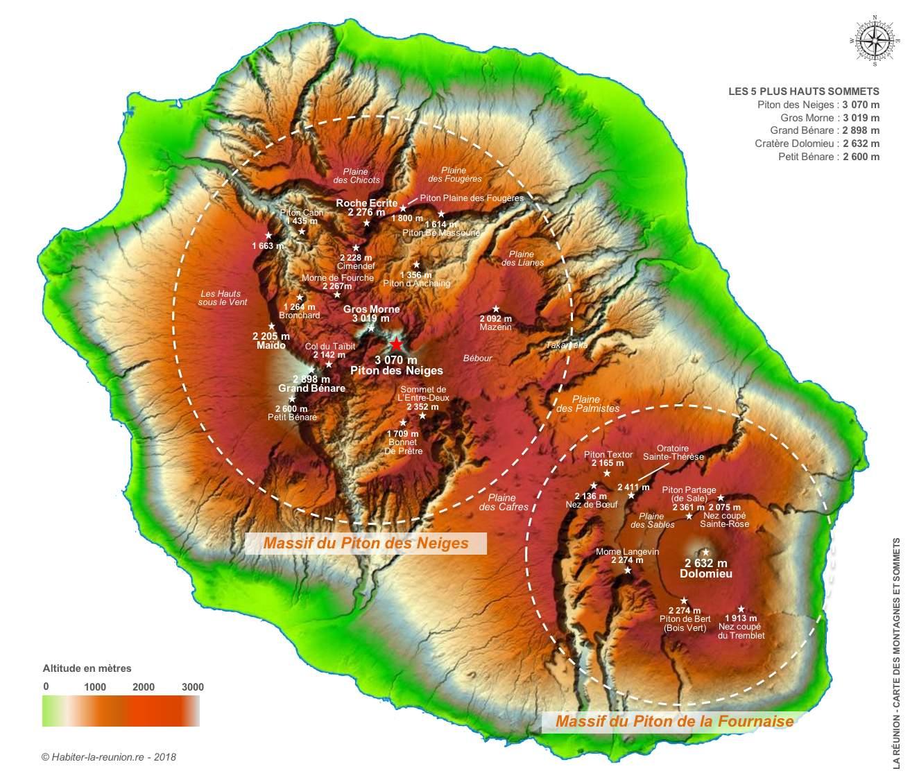 Carte-relief-montagnes-sommets-La-Réunion