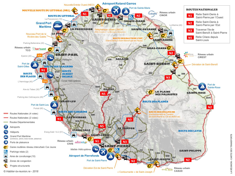 Carte-routes-infrastructures-transports-Réunion