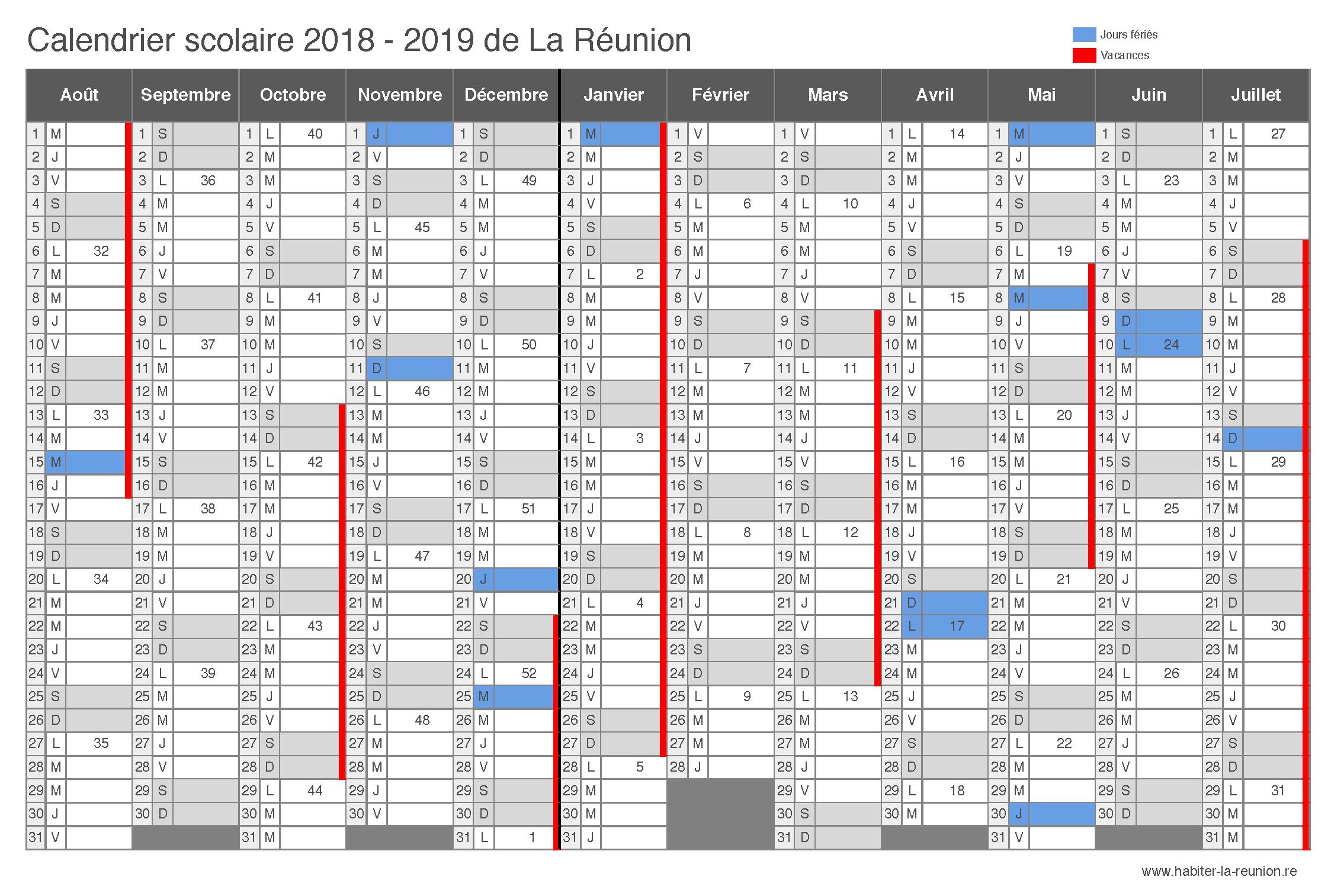 Calendrier-scolaire-La-Réunion-2018-2019