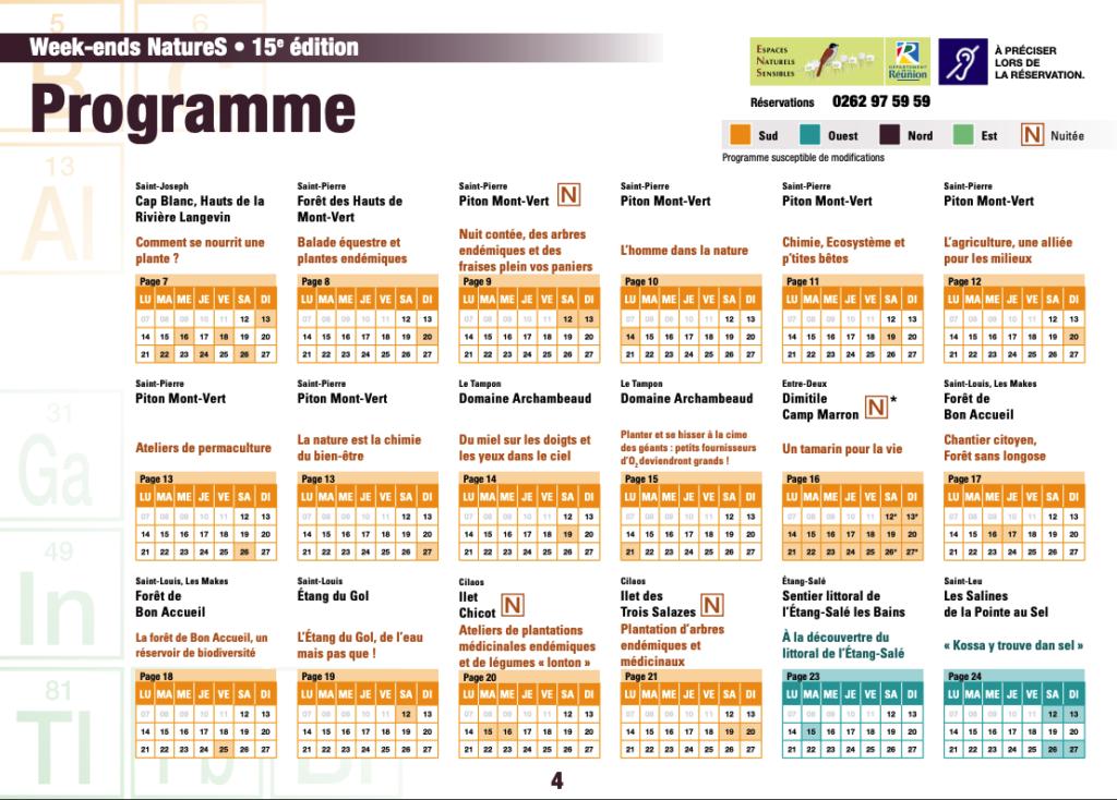 programme weekends natures 2019